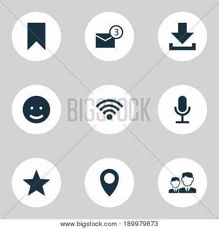 Media Icons Set. Collection Of Down Arrow, Star, Flag And Other Elements. Also Includes Symbols Such As Notification, Download, Inbox.