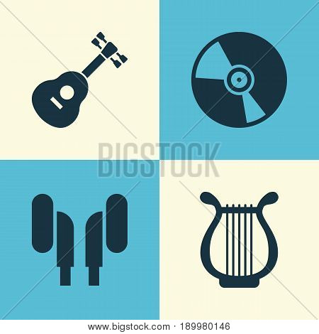 Audio Icons Set. Collection Of Earmuff, Cd, Lyre And Other Elements. Also Includes Symbols Such As Headset, Cd, Turntable.