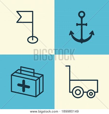 Travel Icons Set. Collection Of Freight Trolley, First Aid Bag, Ensign And Other Elements. Also Includes Symbols Such As First, Aid, Hook.