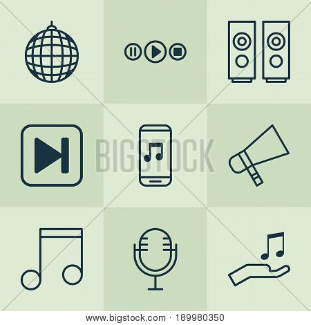 Audio Icons Set. Collection Of Mike, Note, Sound Box And Other Elements. Also Includes Symbols Such As App, Speakers, Fast.