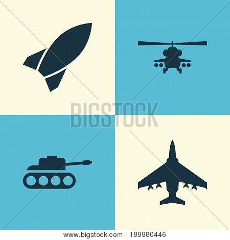 Combat Icons Set. Collection Of Chopper, Missile, Aircraft And Other Elements. Also Includes Symbols Such As Military, Panzer, Helicopter.