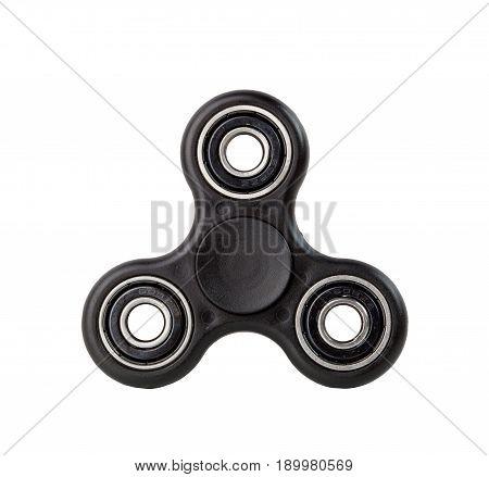 Black Fidget Spinner On White Background
