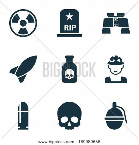 Combat Icons Set. Collection Of Military, Cranium, Slug And Other Elements. Also Includes Symbols Such As Cranium, Military, Head.