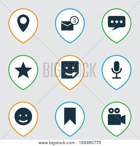 Internet Icons Set. Collection Of Pin, Video Chat, Message And Other Elements. Also Includes Symbols Such As Inbox, Star, Flag.