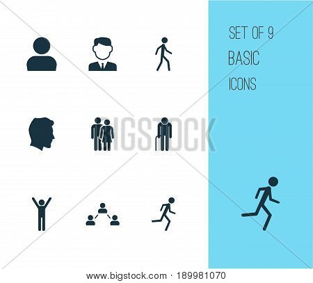 Person Icons Set. Collection Of Network, Jogging, Work Man And Other Elements. Also Includes Symbols Such As Relation, Head, Work.