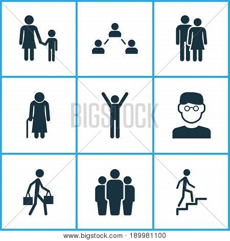 Human Icons Set. Collection Of Network, Happy, Beloveds And Other Elements. Also Includes Symbols Such As Team, Smart, Climbing.