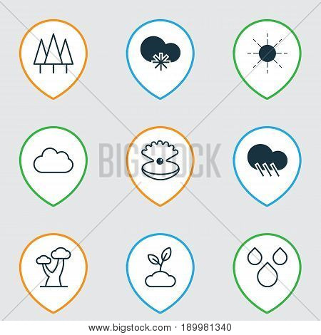 Harmony Icons Set. Collection Of Cloud, Cold Climate, Raindrop And Other Elements. Also Includes Symbols Such As Tree, Oak, Overcast.