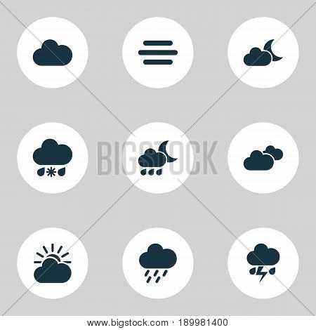 Air Icons Set. Collection Of Haze, Nightly, Weather And Other Elements. Also Includes Symbols Such As Cloud, Sun, Douche.