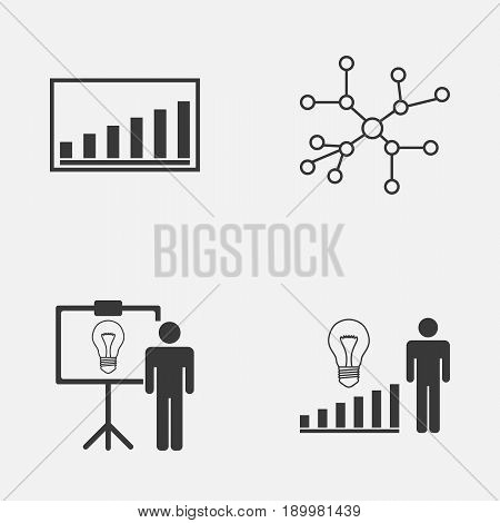 Executive Icons Set. Collection Of Company Statistics, Solution Demonstration, Conversation And Other Elements. Also Includes Symbols Such As Connection, Solution, Conversation.