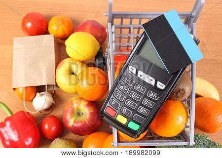 Payment Terminal With Contactless Credit Card, Fruits And Vegetables, Concept Of Cashless Paying For