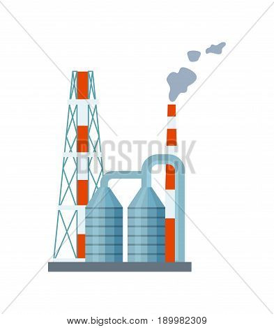 Modern power plant isolated icon. Industrial factory, manufactory technology building vector illustration in flat design.