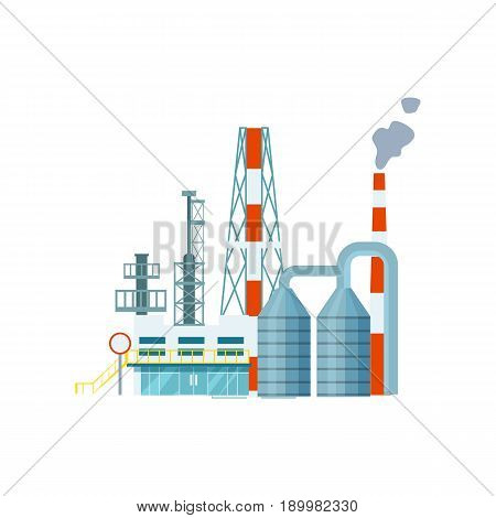 Modern industrial building isolated icon. Heavy factory, power plant, manufactory technology building vector illustration in flat design.