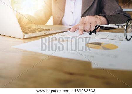 Business Woman Working In Office And Using Laptop Computer With Documents, Free Copy Space