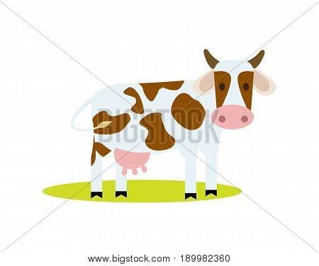 Funny cow vector illustration isolated on white background. Cute cattle farm animal, domestic livestock character in cartoon style.