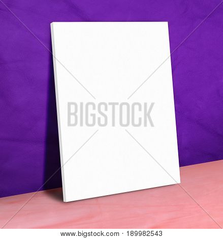 Blank White Paper Poster On Purple Leather Wall And Pink Floor,mock Up To Display Or Montage Of Your