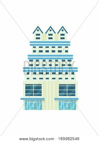 Modern hotel building isolated icon. Commercial real estate, multi storey house, skyscraper, business architecture vector illustration.
