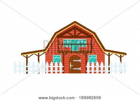 Cattle farm building vector illustration isolated on white background. Domestic animals and farming object in flat style.