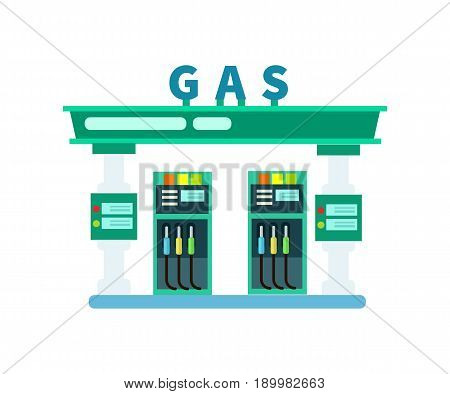 Gas filling station isolated icon. Fuel station with gasoline pump vector illustration isolated on white background.