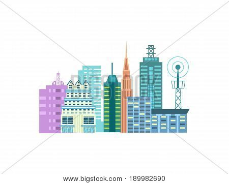 Urban cityscape isolated icon. Commercial real estate, multi storey building, business architecture, skyscraper design vector illustration.