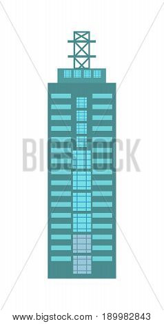 Business building isolated icon. Commercial real estate, multi storey house, skyscraper, architecture design vector illustration.