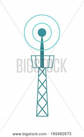 Television tower isolated icon. Modern TV transmitter, telecommunication, radio or mobile antenna vector illustration.