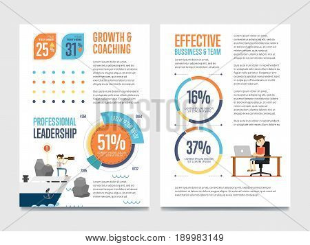 Growth and coaching banner set with pie chart and businessman on ship vector illustration. Abstract data visualization elements. Professional leadership, effective business team, teamwork concept