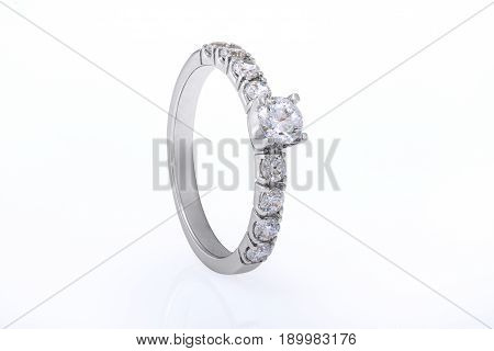 White Gold Wedding Engagement Ring Jewellery with Diamonds on White Background