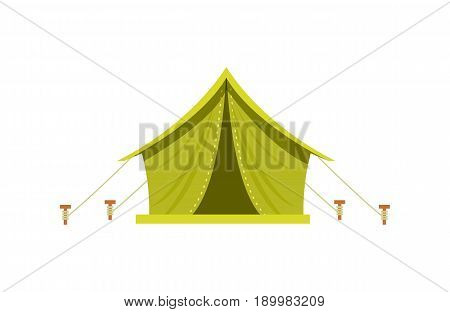 Adventure camp tent icon isolated on white background vector illustration. Campsite equipment in flat design. Hiking traveling, nature vacation concept.