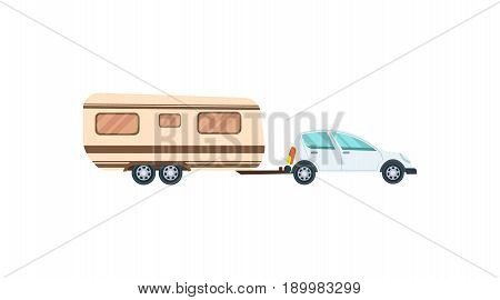 Modern hatchback with trailer isolated icon. Family car, modern automobile, people transportation side view vector illustration.