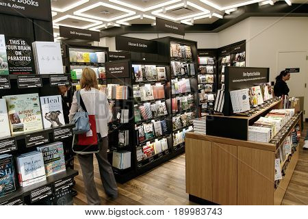 New York June 1 2017: People are browsing a newly opened Amazon Books store in Time Warner Center.