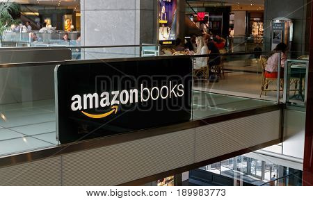 New York June 1 2017: A sign is put up on display near a newly opened Amazon Books store in Time Warner Center.