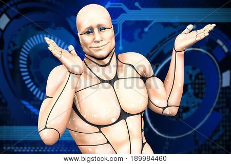 Cyborg man spreads his hands. Abstract background. 3d rendering illustration