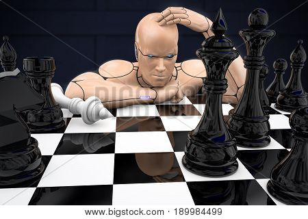Cyborg man plays chess and loses. 3d rendering illustration