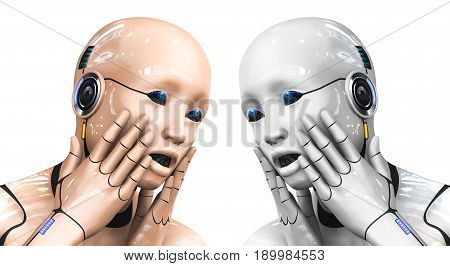 Portrait of a cyborg woman portraying bewilderment. Two color options. 3d rendering illustration