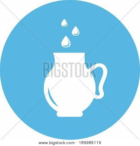 Jug with drops round icon. Silhouette of a jug with water