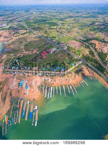 Aerial Photography Rafts In Sirindhorn Dam