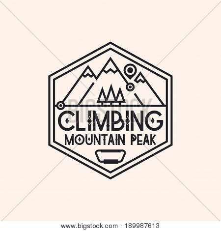 Climbing logo consisting of mountains and trees line style isolated on background for camping logotype, travel badge, explore emblem, hiking sticker, tourist symbol, expedition label, poster, banner