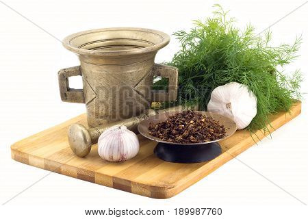 Composition Of Spices,dried Tomatoes , Dill, Garlic, Vintage Spice Grinder Isolated On White Backgro
