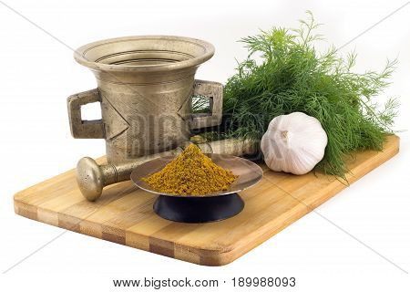 Composition Of Spices, Kari Spice Mix, Dill, Garlic, Vintage Spice Grinder Isolated On White Backgro