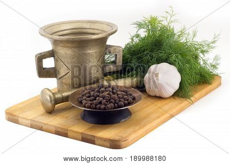 Composition Of Spices,allspice Bayberry , Dill, Garlic, Vintage Spice Grinder Isolated On White Back