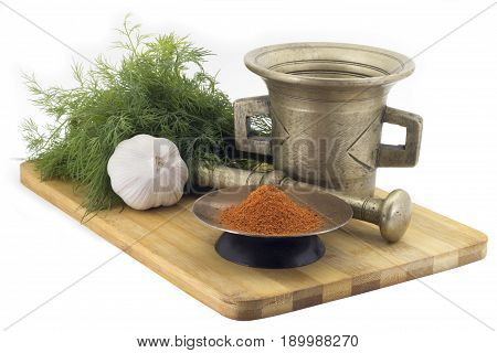 Composition Of Spices, Mix Dry Hot Peppers, Dill, Garlic, Vintage Spice Grinder Isolated On White Ba