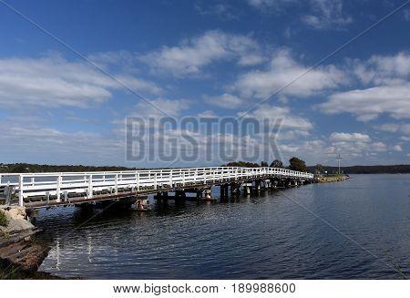 Bridge across Wallaga Lake. The famous and spiritual area of Wallaga Lake the largest lake in southern NSW near Bermagui in New South Wales Australia.