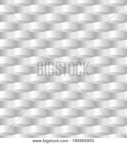 Paper waving wickerwork network abstract three dimensional pattern seamless in gray - white color. Vector illustration beautiful background textile fabric wallpaper creative design monochrome texture
