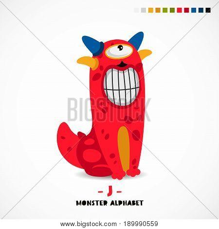 Monster alphabet. Letter J. Strange animal. Vector illustration on white background. Great children's print. The concept of a kid's toy.