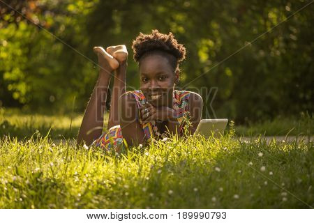 One, Young Adult, Black African American Happy Smiling Enjoying Woman 20-29 Years, Laying Lying On G