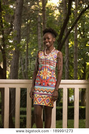 One, Young Adult, Black African American Happy Smiling Woman 20-29 Years, Standing, Looking To Camer