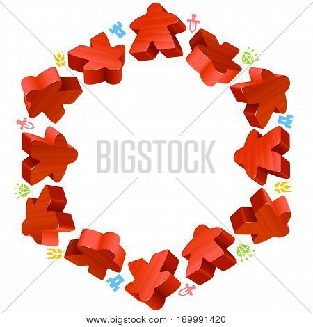 Hex frame of red meeples for board games. Game pieces and resources counter icons isolated on white background. Vector border for design boardgames advertisement or template of geek t-shirt print