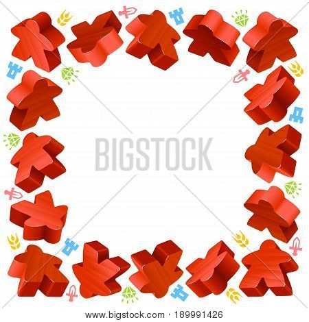 Square frame of red meeples for board games. Game pieces and resources counter icons isolated on white background. Vector border for design boardgames advertisement or template of geek t-shirt print