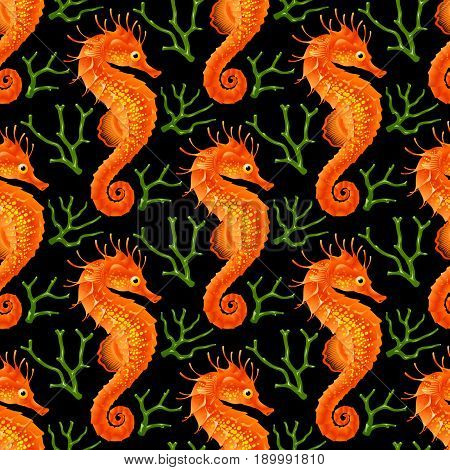 Vector Seamless Pattern whith Seahorse. Red Thorny Hippocampus and Green Coral Isolated on Black Background. Use for Sea Wallpaper Gift Wrap or Wrapping Paper