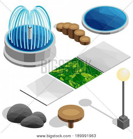 Isometric elements for the park, city, country house. Fountain, pool, lamp, table, stones, game, tile, grass. Landscape design icons for game, map, print, ets. Isolated on white background.